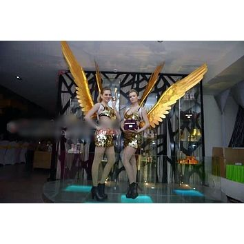 Tall Gold Cloth Angel Feather Wings Cosplay Party Stage Show Wedding
