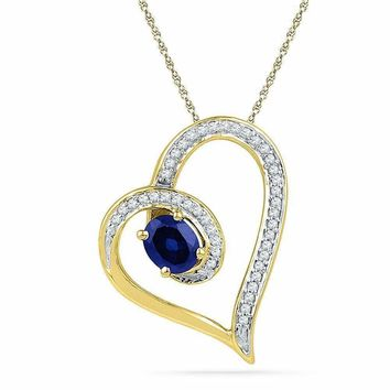 10kt Yellow Gold Women's Oval Lab-Created Blue Sapphire Heart Outline Pendant 3-4 Cttw - FREE Shipping (US/CAN)