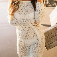 Beige Square-Neck Knit Cover-Up