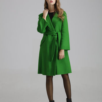 Woman's green wool coat,Double breasted coat,woollen coat,Maxi  coat,Winter wool coat,Minimalist coat,Women fashion,Christmas gift,AW0916022