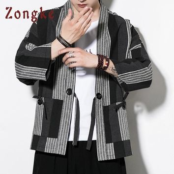 Trendy Zongke Chinese Kimono Cardigan Men Costume Cotton Linen Kimono Cardigan Men Kung Fu Kimono Jacket Men Han Clothing 2018 AT_94_13