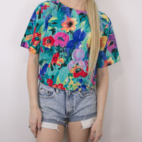 Vintage Floral Watercolor Abstract Blouse