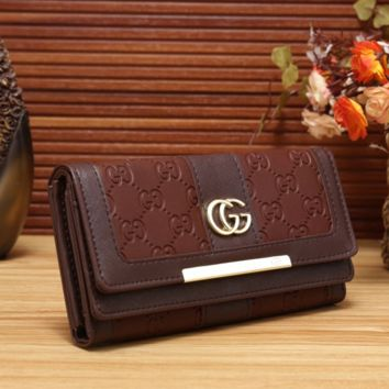 Brown LEATHER GUICC PURSE WALLET
