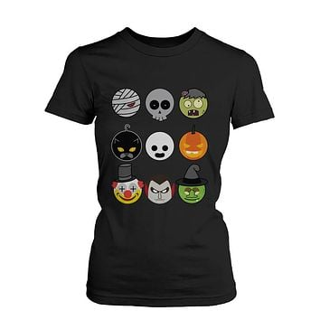 Halloween Monsters Women's Shirts Humorous Graphic Tees for Haunt Night