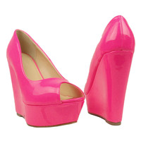 Womens Platform Sandals Patent Leather Peep Toe Wedge High Heel Shoes Shoes Shoe