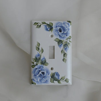MIDNIGHT ROSE Hand Painted Blue Light Switch Plate Cover flowers