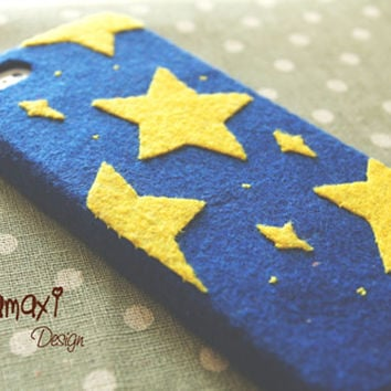 Handmade Starry Phone Case, Unique Felt Fabric iPhone 4/4S/5/5S/5C Case /Starry Starry Night Phone Case