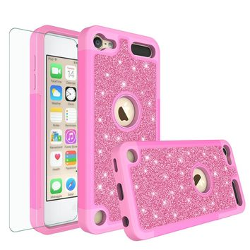 Apple iPod Touch 5 Case, Touch 6 Case,Glitter Bling Heavy Duty Hybrid Case with [HD Screen Protector] Dual Layer Protective Phone Case Cover - Hot Pink