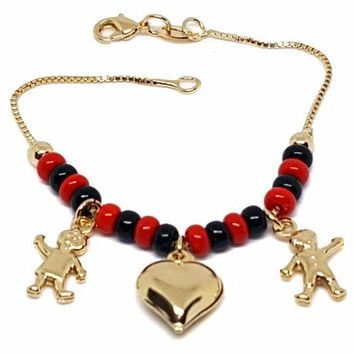 1-0782-f9 18kt Brazilian Gold Layered Kid's Elegua (Red and Black Bead) Charm Bracelet. 6 inches, 4.5mm. Beads.
