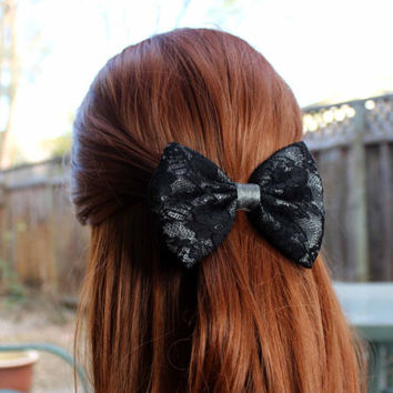 """4.5"""" Sliver & Black lace hair bow, black hair bow, black lace hair bow clip with shiny steel gray center, lace hair bow, black lace bow"""
