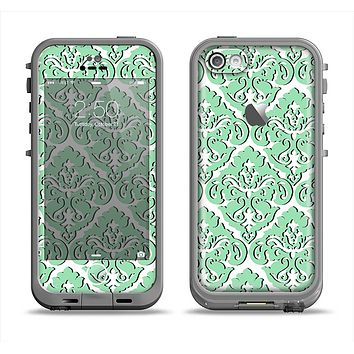 The Mint & White Delicate Pattern Apple iPhone 5c LifeProof Fre Case Skin Set
