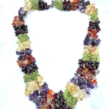 Red garnet, amethyst,orange carnelian agate, peridot, and citrine gemstone chip necklace.