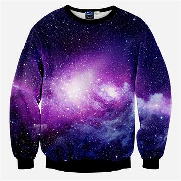 2017 Fashion New Women Men Purple Hipster Galaxy Print 3D Casual Hoodie Sweatshirts Jumper Outfits