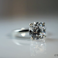 2 Carat Cushion Cut Cubic Zirconia Sterling Silver Solitaire Engagement Promise Ring Faux Diamond Simulant Sizes 2-13