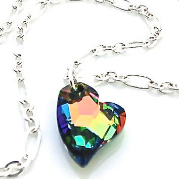 Colorful Heart Necklace, Stocking Stuffer, Gift for Teen Girl, Neon Necklace, Girlfriend Gift