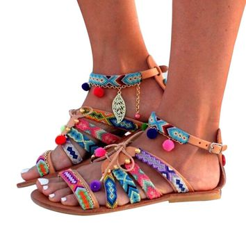 Fashion  style Sandals Leather Flats Shoes Pom-Pom Sandals