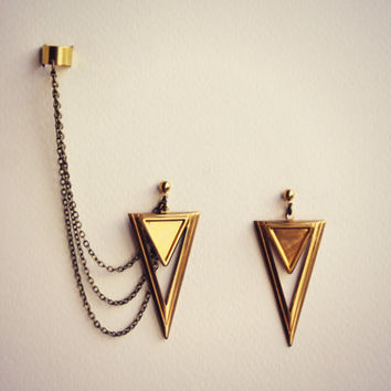 brass triangle ear cuff earrings, ear cuff with chains, dangle earrings, triangle ear cuff, geometric earrings, geometric earrings
