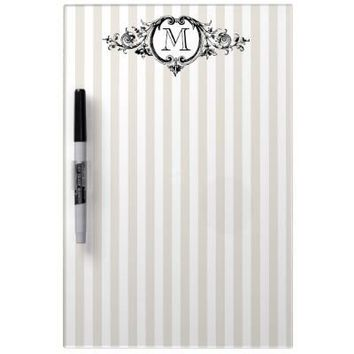 Framed Monogram On Stripes Message Board Dry-erase Boards from Zazzle.com