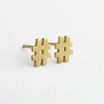 14k Gold Hashtag Earrings - Solid Gold Studs - Hash Symbol