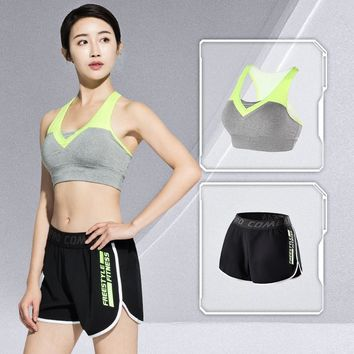 LEFAN 2pcs Sport Suits Women's Elastic Gym Running Sets Sexy Fitness Workout Clothes Girls Jogging Sportwear Sets Bra + Shorts