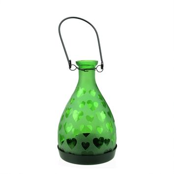 """6.25"""" Frosted Green Hearts Glass Bottle Tea Light Candle Lantern Decoration"""