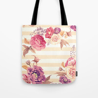 Pastel Flowers Tote Bag by Printapix