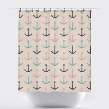 Navy/Teal/Cream Anchor Nautical Shower Curtain