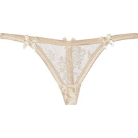 Agent Provocateur - Gloria embroidered tulle and satin thong