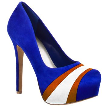 HERSTAR™ Royal Blue Orange White Team Color Suede Pumps