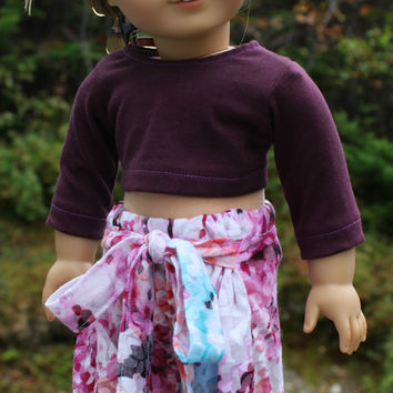 18 inch doll clothes floral, Harem, dance, yoga pants with ties, plum crop top, american girl, maplelea