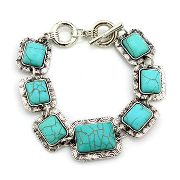 European and American Hot Sale Jewelry Retro Turquoise Bracelet Fashion Personalized Hand Bracelet