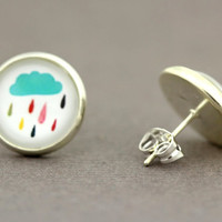 Fake Plugs Rain Cloud Earrings : Rainy Weather Stud Earrings, Fake Plugs, Multi Color, Rainbow, Umbrella by OAKWILDE on Etsy