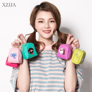 XZJJA Earphone Wire Case Data Line Cables Storage Box Cute Animal Portable Zipper Women Girl Coin Purse Organizer Earphone Bags