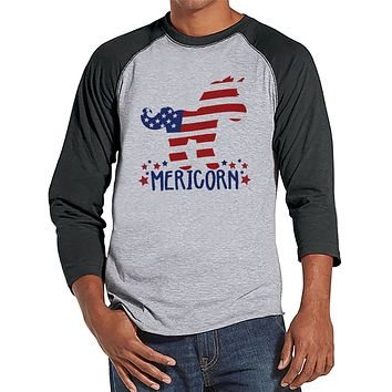 Men's 4th of July Shirt - Funny Mericorn Grey Raglan - American Flag Unicorn 4th of July Party Shirt - Funny Patriotic Independence Day