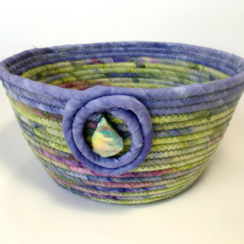 Coiled Rope Basket in Green & Purple - Sophisticated Clothesline Organizer Catchall - Clutter Keeper - Functional Fiber Art -Batik Fabric