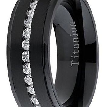 CERTIFIED 8mm Black Titanium Men's Eternity Wedding Band Ring with Cubic Zirconia CZ, Comfort Fit