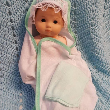 "Baby doll bath towel set made to fit Bitty Baby or up to 15 inch doll ""Little Blessing"" G2"