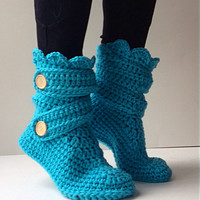 Women's Crochet Turquoise Slipper Boots, Crochet Slippers, Crochet Booties, Crochet House Shoes, Crochet Winter Boots, Blue Slipper Boots
