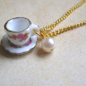 Alice in Wonderland Pink Floral Teacup Necklace, Gold, Tea cup, Flower, Mini, Cute, Pearl