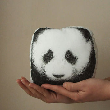 panda decorative pillow handpainted cushion home decor plush black and white soft toy