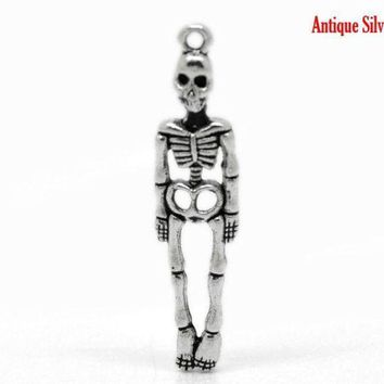 CREYCI7 DoreenBeads 50PCs Antique Silver Halloween Skeleton Body Skull Charm Pendants 39x9mm(1 4/8'x3/8')