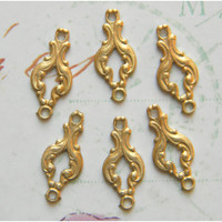 Raw Brass Victorian Ornate Connector Stamping 6mm x 16mm - 6 pcs.