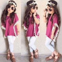 2015NEW Summer 2pcs Kids Girls Baby Lace Short-sleeved T-Shirt+Jeans Outfits Set