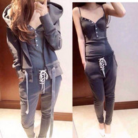 Autumn Winter Women Cotton Tracksuit increase 3 Piece Set Clothing Solid Suit Woman Irregular Hoodies Set Costumes Plus size