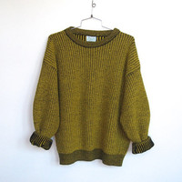 Vintage 1980 - 90s Benetton / Yellow and Black Chunky Knit / Oversized Pullover Sweater