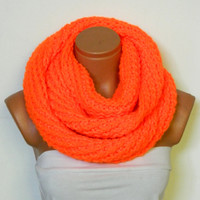 2014 Trend,Winter scarves,Knitted Accessory infinity Scarf Block Infinity Scarf. Loop Scarf, Circle Scarf, Neck Warmer.Neon Orange scarves