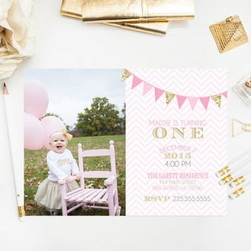 Pink & Gold Glitter Birthday Bunting Invitations Printable Birthday Party Invitations