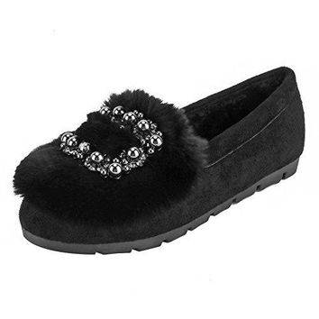 Meeshine Womens Warm Plush Rhinestone Ballet Flats Indoor Outdoor House Slippers Slip On Shoes