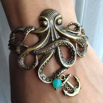 $9.50 Octopus Bracelet with Anchor charm Bracelet  by pier7craft on Etsy