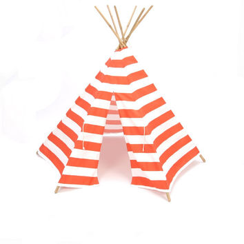Teepee style play tent poles included orange and white stripe six panel